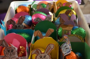 Happy, happy, Easter. We made the baskets and out teacher filled them up.