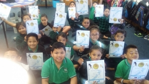 Us and our Champion Certificates and Bands.